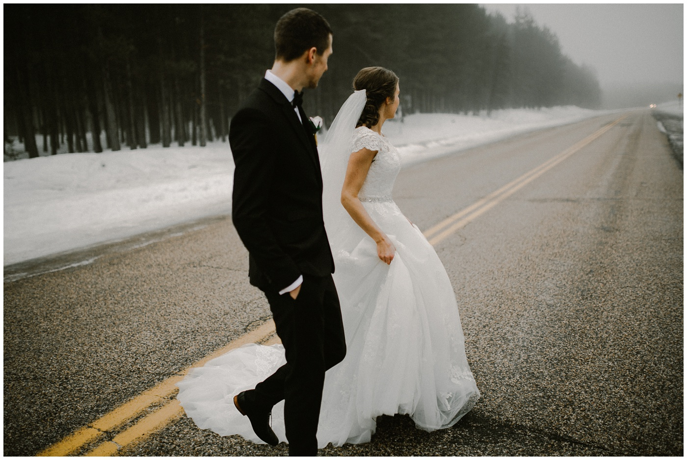 Foggy Canadian Winter Wedding