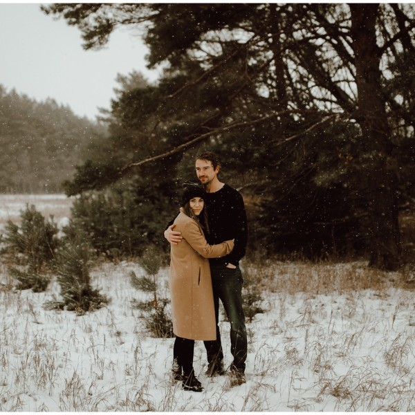 Winnipeg Winter Engagement in a Blizzard
